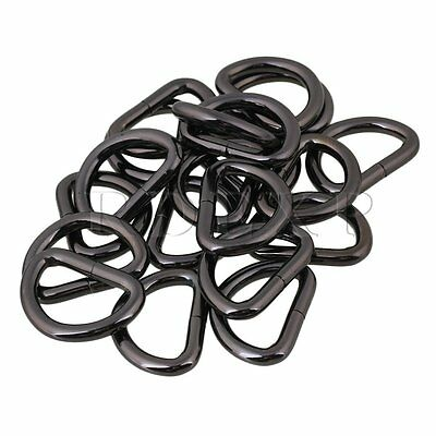 20 x Black Metal Welded D Ring Buckles for Strap Keeper Webbing 2.5cm ID