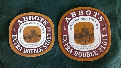 2x Abbots Extra Stout Beer Labels
