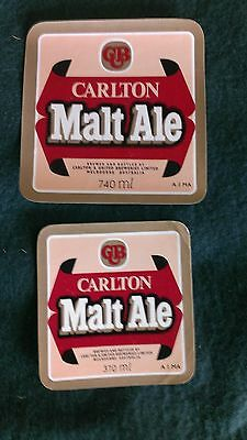 2x Carlton Malt Ale Beer Labels