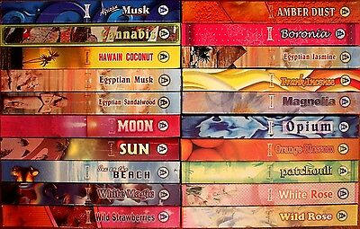20 - 200 Sticks Incense 20 SCENTS or 10 MIXED Bulk Pack Hex Asra Floral Insence