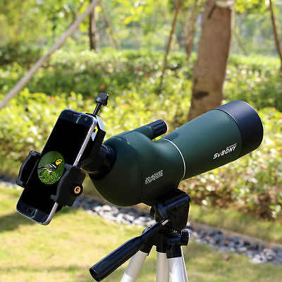 AU 20-60x60mm Angled Zoom Spotting Scope Waterproof+Tripod & Cell Phone Adapter