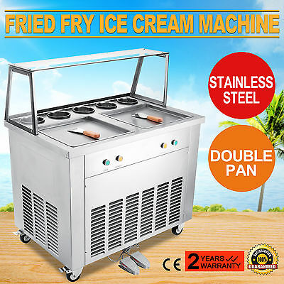 Double Pan Fried Ice Cream Machine universal wheels double compressor double pan