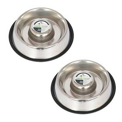 Set Of 2 - Slow Feed Stainless Steel Pet Bowl For Dog Or Cat - Small - 12 Oz NEW