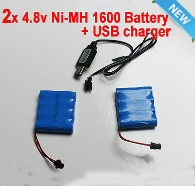 2x 4.8V 1600mAh Ni-MH Rechargeable Battery Pack SM Port For RC Toy+ USB charger