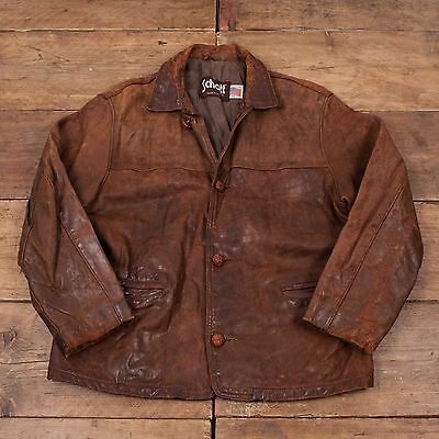 """Mens Vintage Schott NYC Quilt Lined Leather Workwear Jacket Brown M 42"""" R4689"""