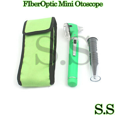 Fiber Optic Otoscope Mini Pocket Medical Ent Diagnostic Green Set