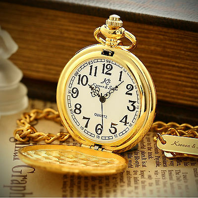 Gold Steampunk Retro Full-Hunter White Dial FOB Mens Vintage Pocket Quartz Watch