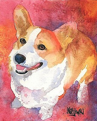 Corgi Dog 8x10 Art PRINT Signed by Artist Ron Krajewski Painting Welsh Pembroke