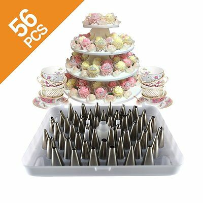 56 Pcs DELUXE Stainless Steel Icing Tips Cake Decorating Pastry Tips Tool Set