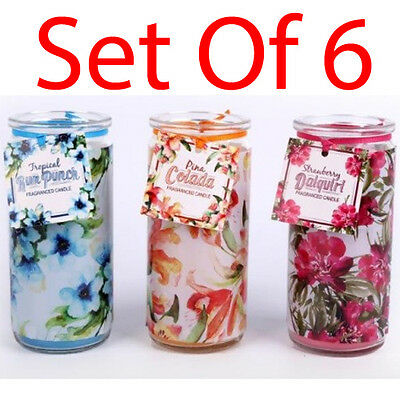 Set Of 6 Scented Candles In Glass Tube Fragrance Home Candle Gift Mood Pillar