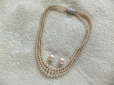 Vintage 3 Strand Pearl Necklace & Earrings