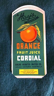 Hays Orange Cordial Label