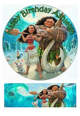Disney Moana Personalized Edible Cake toppers 7 Inch/cupcakes Precut FREE BANNER