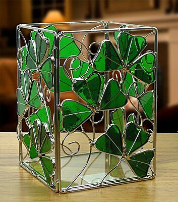 Irish Candle Holder Celtic with Shamrocks Stained Glass and Metal, New