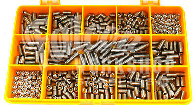 200 Assorted Stainless M8 Grub Screw Cup Point Hex Set Socket Cap Screws Kit 08
