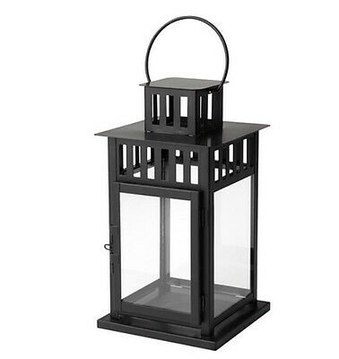 Ikea Borrby Lantern For Block Candle, In/Outdoor Black, 28cm Tall BNWT