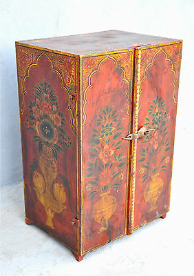 1900s Indian Antique Hand Crafted Fine Painted Wooden Drawers Jewellery Box