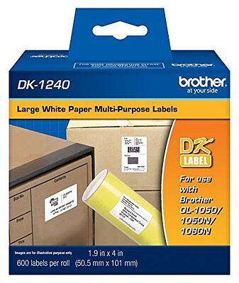 Brother 1.9 x 4in Die Cut White Paper Labels 600 Count DK1240 Retail Packaging