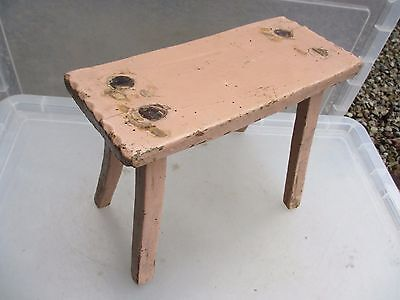 Vintage French Wooden Stool bench Seat Step Farmhouse Country Rustic Old Milking