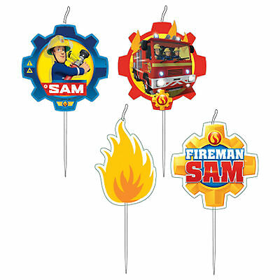 4 FIREMAN SAM Hero Children's Birthday Party Snack Pick Cake Candles Decorations