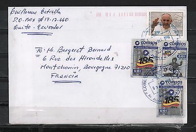 Ecuador 2016 Cover To France Francisco Pope Visit Post Service 185 Y. Motorcicle