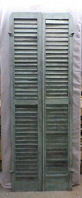Antique Pair Rounded Arched Wood Louvered Shutter Shabby Vtg Chic 74x13 115-17R