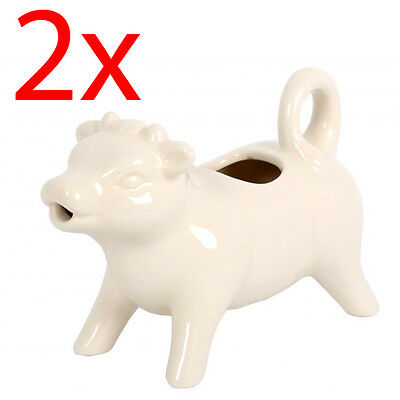 2 X 250Ml Cow Milk Jug Ceramic Cream Kitchen 18Cm Drinking Table Serving New