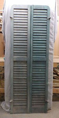 Antique Pair Rounded Arched Wood Louvered Shutter Shabby Vtg Chic 74x13 117-17R