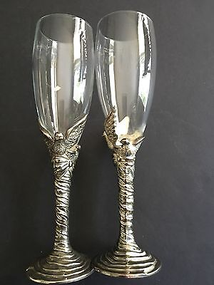 Vintage Anniversary/Wedding Champagne Glasses By International Silver Company