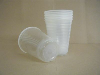 Pack 100 7oz (200cc) Plastic Water Cups, Clear (White), Disposable Vending Cups