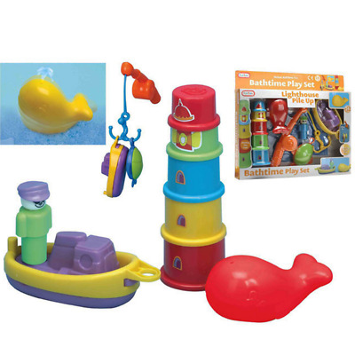 Kids Childrens Baby 6 Pc Go Fishing Bath Time Play Set With Net Bath Toys