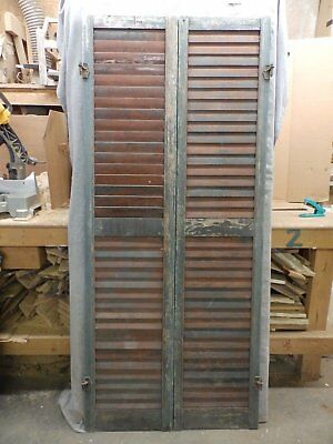 Antique Pair Wood Louvered Shutter Shabby Old Chic Vtg 68x15 119-17R