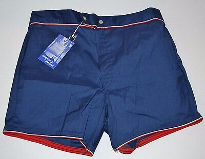 Vtg 1980's Castaways Short TENNIS SHORT Swimming Trunks Double Button Zipper L