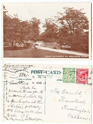 Early Postcard,Leicestershire, Entrance To Bradgate Park, Old Car, 1921, RP