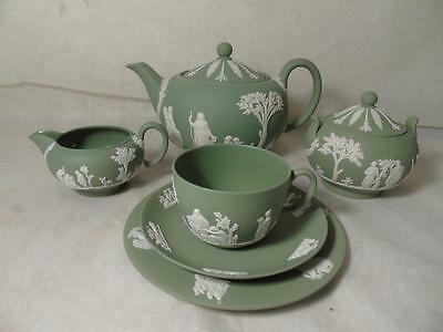 Complete Set of Wedgwood White on Green Jasperware Afternoon Tea Service - Mint