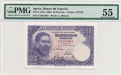 Spain 25 Pesetas 1954 Pick# 147a - PMG 55 About Uncirculated