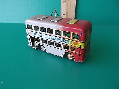 "Vintage Tin Toy Ornament ""double Decker Bus"" Made In Germany"