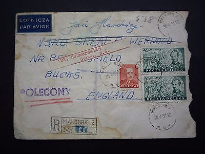 Poland 1951 Registered cover to England - PoleCony cancel