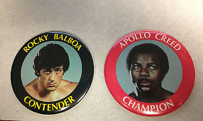 "Original  Rocky Balboa Apollo Creed 4"" Movie Prop Pin Back Movie Button Set"