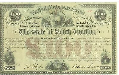 State Of South Carolina.......1871 Sterling Funded Debt Certificate