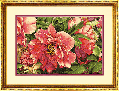 Dimensions D70-35298   Coral Peonies Picture Counted Cross Stitch Kit 16 x 11in