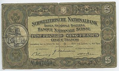 GB278 - Banknote Schweiz 5 Franken 1939 Pick#11i Wilhelm Tell Switzerland Suisse