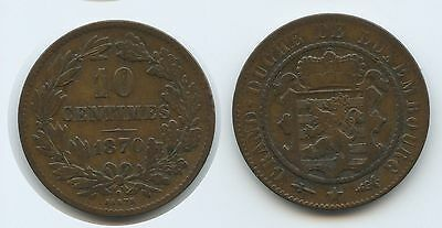 G7717 - Luxemburg 10 Centimes 1870 KM#23.1 Guillaume III.1849-1890