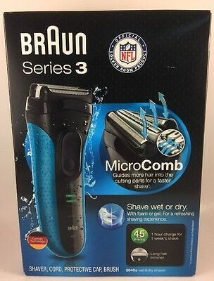 Braun 3040s Wet and Dry Shaver, Blue Micro Comb * NOB *