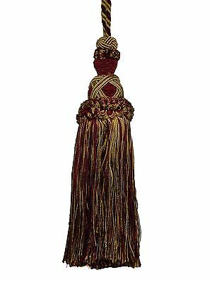 "Belagio BT-509 WINE TAUPE GOLD Mix Home Decor Decorative 7"" Tassel 5"" Loop Cord"