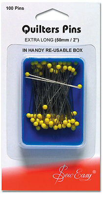 NEW Sew Easy ER308 | Quilters Glass Head Pins | 0.75mm x 45mm | 100pcs FREE POST