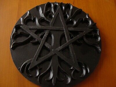 BLACK WOODEN ALTAR PENTACLE TREE OF LIFE 20cm Wicca Pagan Witch Goth