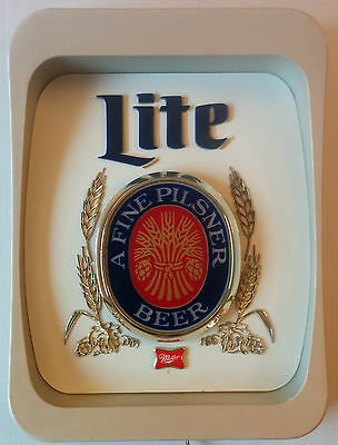 Vintage Miller Lite A Fine Pilsner Beer Bar Sign Light Milwaukee Retro Working