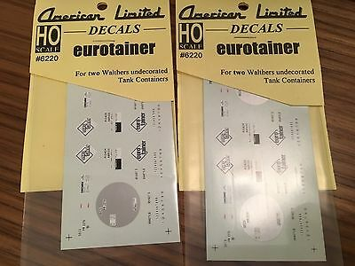 2 x American Limited HO #6220 Tank Container Decal Set Eurotainer freightliner