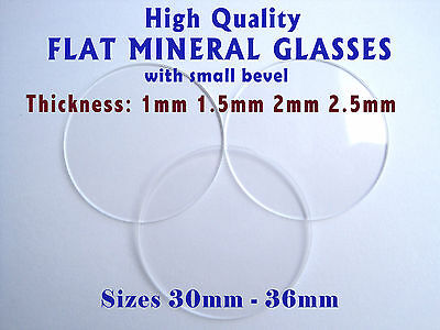 WATCH GLASS CRYSTAL FACE Flat 1mm 1.5mm 2mm 2.5mm Thick, Mineral, Ø 30mm - 36mm